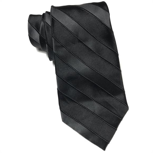 33a9b4c58f82 Calvin Klein Accessories | Nwt Black Striped Textured Silk Tie ...